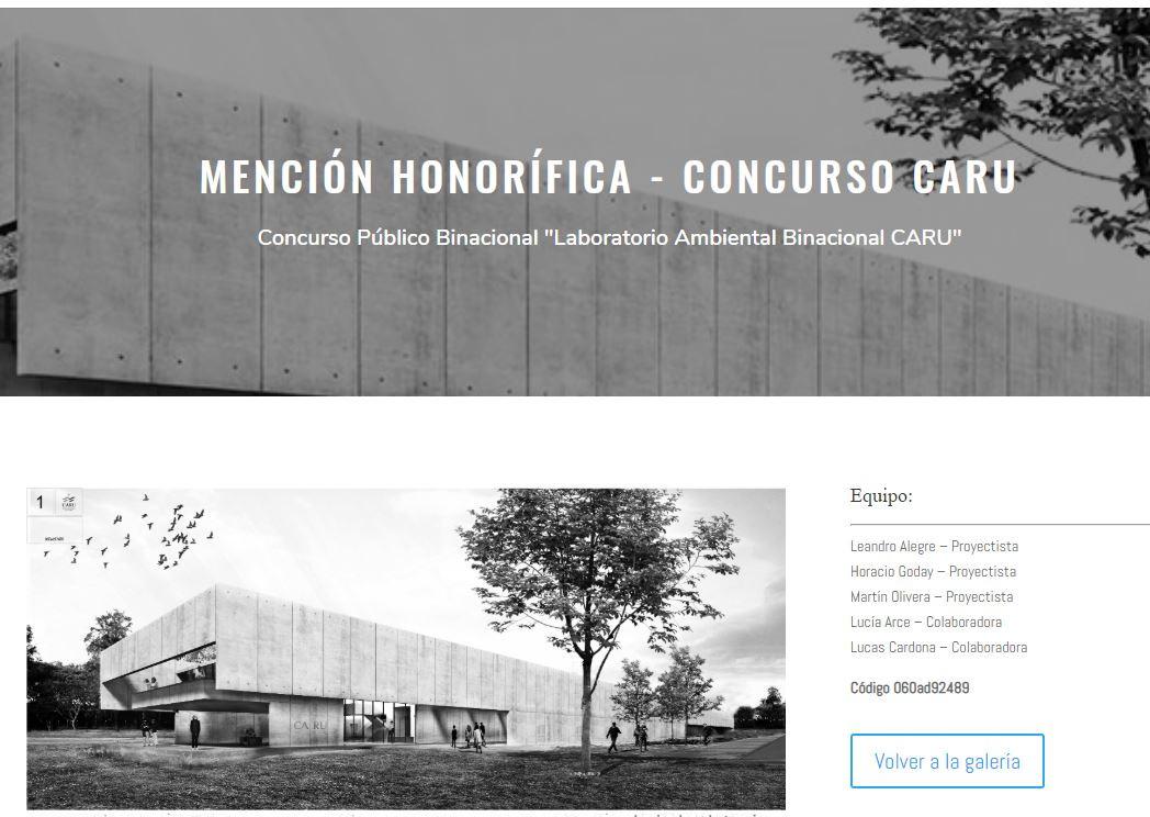 MENCIÓN HONORÍFICA CONCURSO CARU