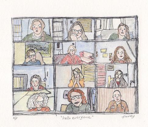 Kathleen Furey 'Hello Everyone' Watercolour Version Drypoint and watercolour.jpeg