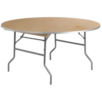 Kenwood 60'' Round HEAVY DUTY Birchwood Folding Banquet Table with METAL Edges (12.00 each)