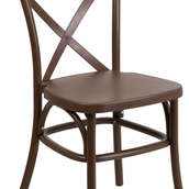 Cross Back Chair Chocolate Resin Indoor-Outdoor (4.50 each)
