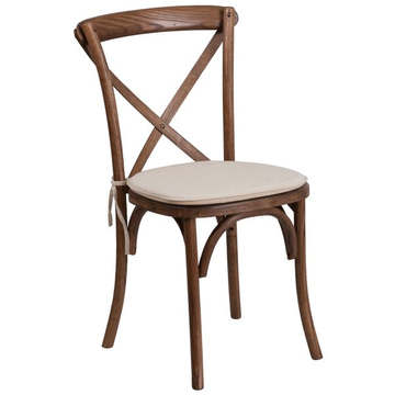Lancaster Pecan Wood Cross Back Chair with Cushion (8.50 each)