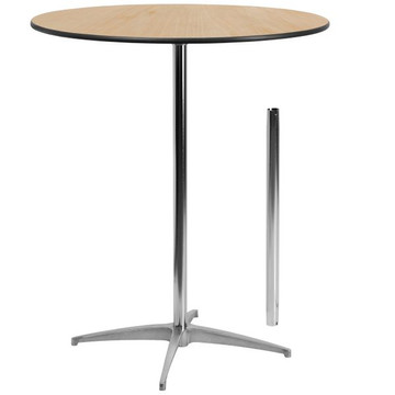 36'' Round Wood Cocktail Table with 30'' or 42'' Column (13.50 each)