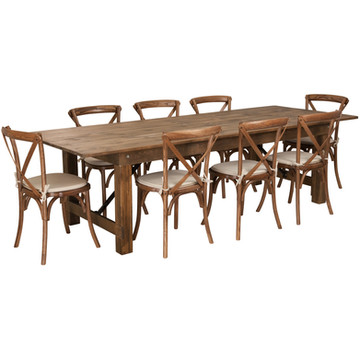 Lancaster Series 9' x 40'' Rustic Farm Table Set with 8 Cross Back Chairs (164.70 per set)