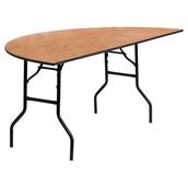 Kenwood 72'' Half-Round Wood Folding Banquet Table