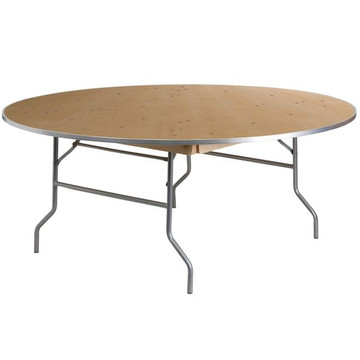 Kenwood 72'' Round HEAVY DUTY Birchwood Folding Banquet Table with METAL Edges (17.50 each)