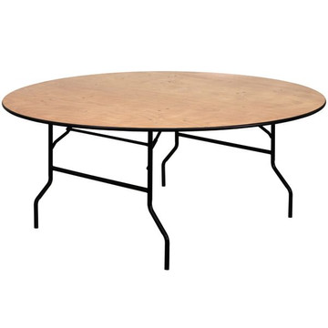 72'' Round Wood Folding Banquet Table with Clear Coated Finished Top (14.00 each)