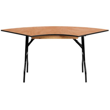 Kenwood 5.5 ft. x 2.5 ft. Serpentine Wood Folding Banquet Table