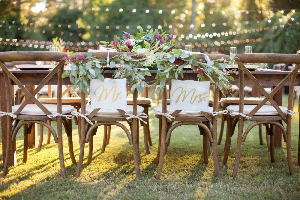 Pecan Cross Back Chairs