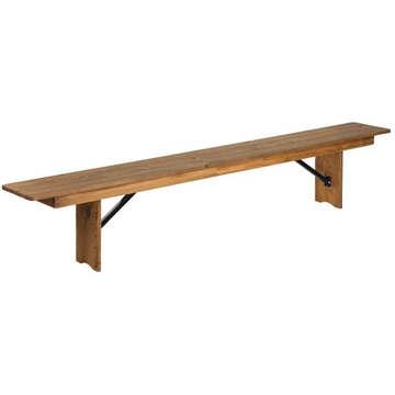 Kenwood Lancaster 8' x 12'' Antique Rustic Solid Pine Folding Farm Bench