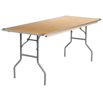 Kenwood Pro 30'' x 72'' Rectangular HEAVY DUTY Birchwood Folding Banquet Table with METAL Edges and Protective Corner Guards