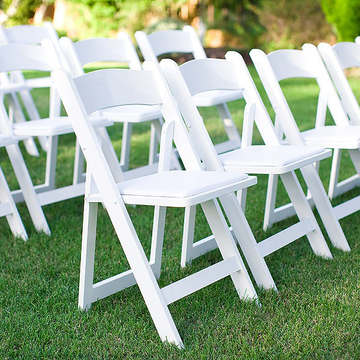 All-Occasion White Resin Folding Chair with White Vinyl Padded (3.50 each)