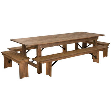 Kenwood Lancaster 9' x 40'' Antique Rustic Folding Farm Table and Four Bench Set