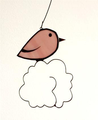 Mobile oiseau nuage rose