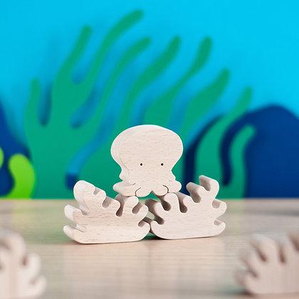 Poulpe - figurine en bois
