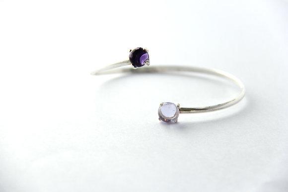 Bracelet en verre et argent violet