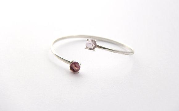 Bracelet en verre et argent rosé