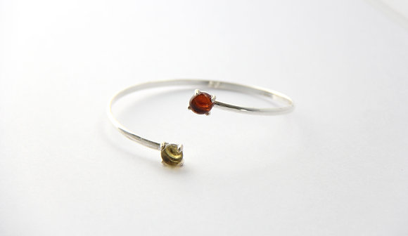 Bracelet en verre et argent ambre