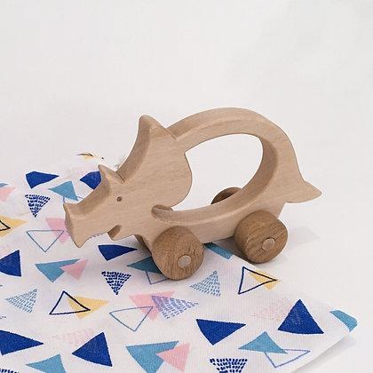 Tricia le tricératops - jouet en bois à faire rouler