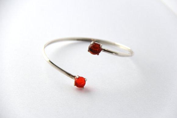 Bracelet en verre et argent orange