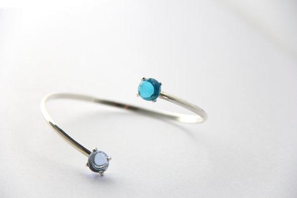 Bracelet en verre et argent turquoise