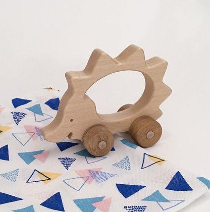 Simone la hérissonne - jouet en bois à faire rouler