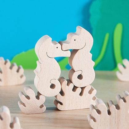 Hippocampe - figurine en bois