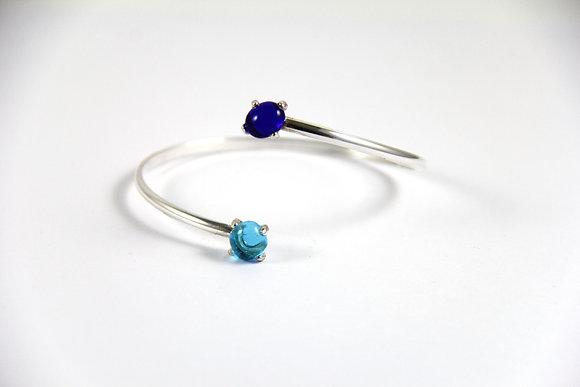 Bracelet en verre et argent bleu