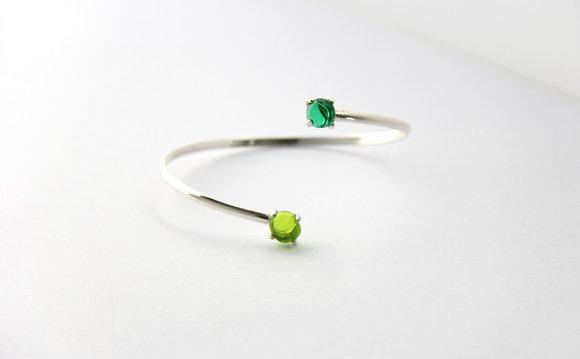 Bracelet en verre et argent vert