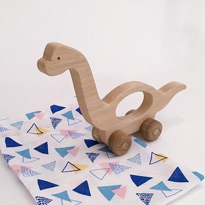 Basile le brachiosaure - jouet en bois à faire rouler