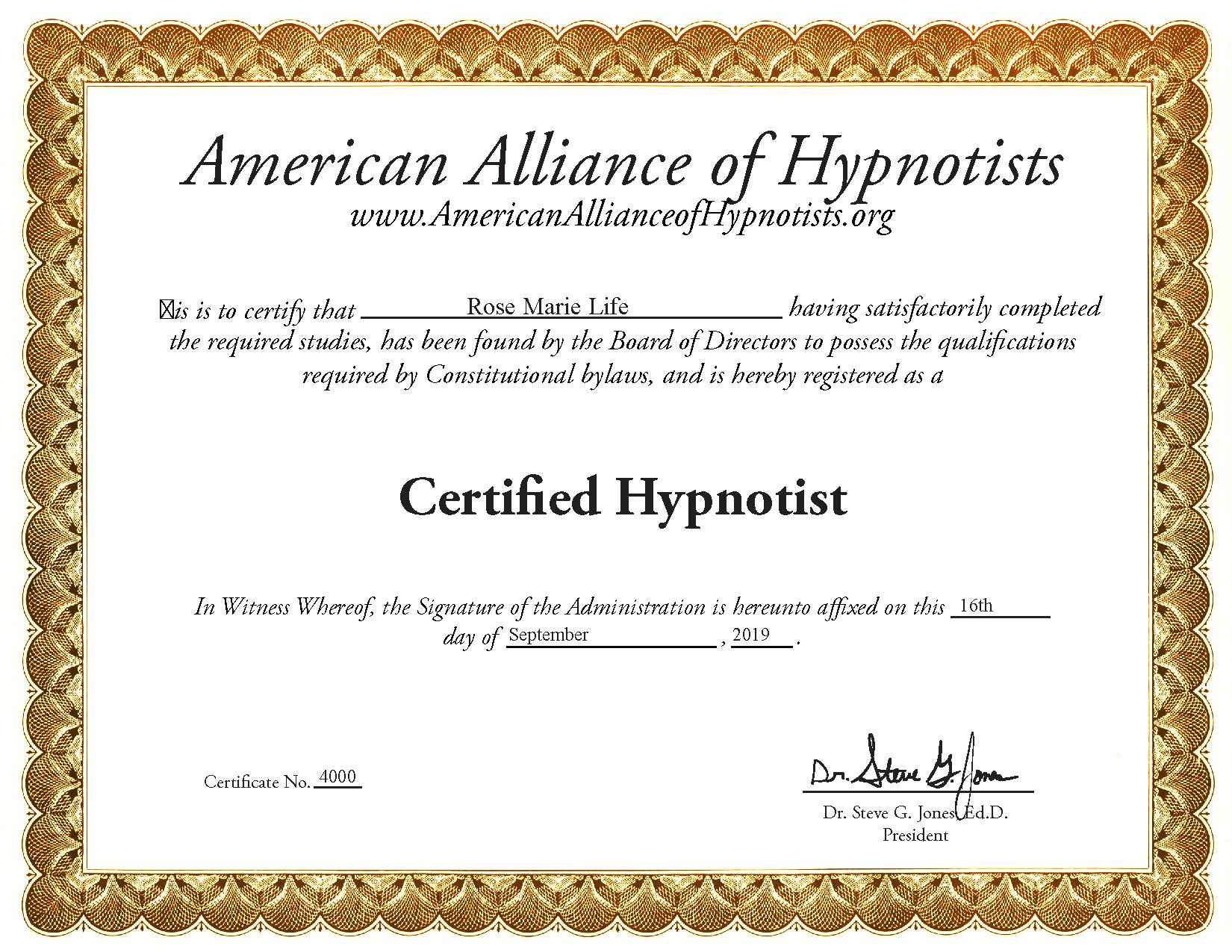 Certified Hypnotist