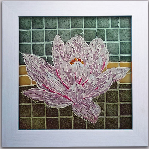 Professionally framed vitreous waterlily