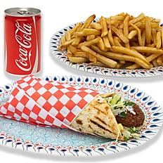 Falafel Pita, Fries & Pop Combo