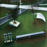 urbanités - 01, huile sur bois, 30 x 30 cm, 2015. Collection particulière.