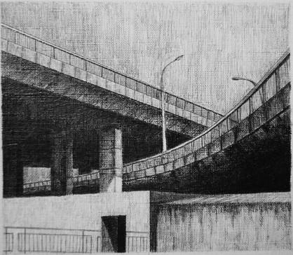 les images grisées - 11, crayon sur papier toile, 13 x 15 cm, 2015. Collection Particulière.