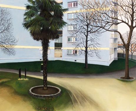 les lignes silencieuses -02, huile sur papier, 45 x 55 cm, 2015.