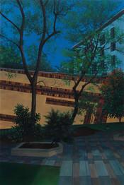 urbanités - 16, huile sur bois, 40 x 60 cm, 2017