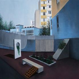 urbanités - 03, huile sur bois, 30 x 30 cm, 2015. Collection particulière.