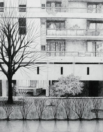 30,5 x 41 cm, crayon sur papier toile, 2017