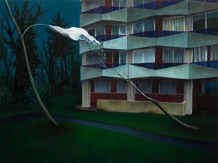urbanités - 14, huile sur bois, 45 x 60 cm, 2017