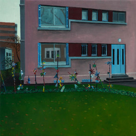 urbanités - 19, huile sur bois, 30 x 30 cm, 2018