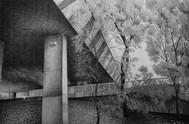les images grisées - gf01, crayon sur papier toile, 65 x 100 cm, 2016