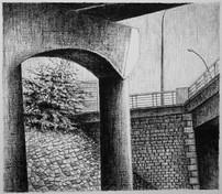 les images grisées - 17, crayon sur papier toile, 13 x 15 cm, 2015. Collection particulière.