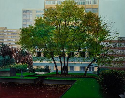 les abords de la rue Bordier, huile su toile, 71 x 93 cm, 2018.