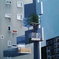 urbanités - 05, huile sur bois, 30 x 30 cm, 2016. Collection particulière.