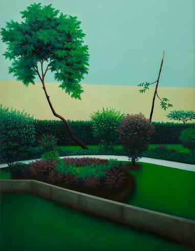 même le ciel sera vert, huile sur toile, 89 x 116 cm, 2019