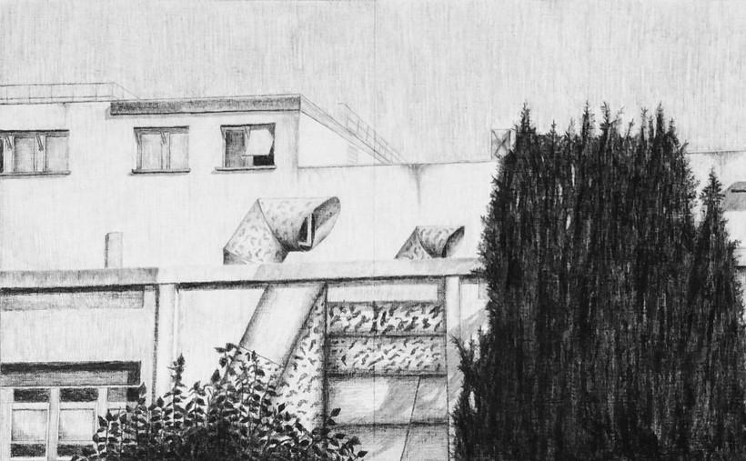les lignes ennuyeuses - 14, crayon sur papier toile, 30 x 48 cm, 2015. Fond d'Art Contemporain Municipale d'Ivry-sur-Seine.