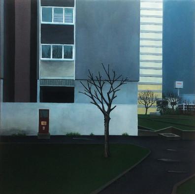urbanités - 09, huile sur bois, 30 x 30 cm, 2016. Collection particulière.
