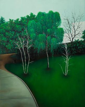 même le ciel sera vert, huile sur toile, 73 x 92 cm, 2019