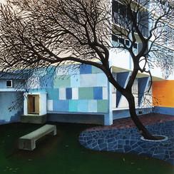 urbanités - 02, huile sur bois, 30 x 30 cm, 2015. Collection particulière.