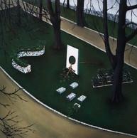 urbanités - 08, huile sur bois, 30 x 30 cm, 2016. Collection particulière.